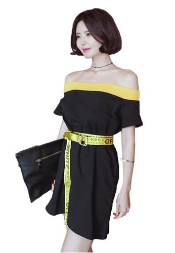 Sunnydaysweety black Short Sleeve Off-Shoulder Girdle Dress UA062232-0 CBFD0AA4A1F870GS_1