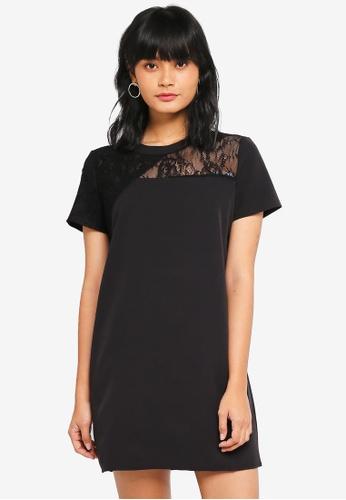 Something Borrowed black Asymmetric Lace Shift Dress C2312AA5402B38GS_1