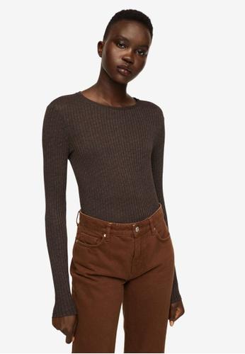Mango brown Ribbed Long-Sleeved T-Shirt 12502AAD98AD9BGS_1