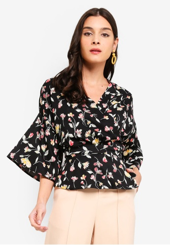 ZALORA 黑色 and 多色 Printed Wrapped Top 29DFFAA7646D46GS_1