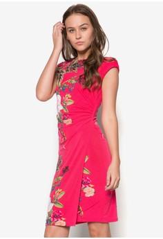 Pink Oriental Floral Printed Dress