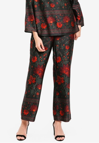 Zalia green Placement Print Flare Pants 99634AAE2165B1GS_1