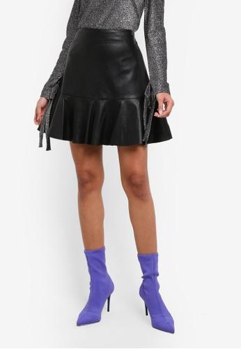 Dorothy Perkins black Black Frill Hem PU Skirt DO816AA0S7B3MY_1