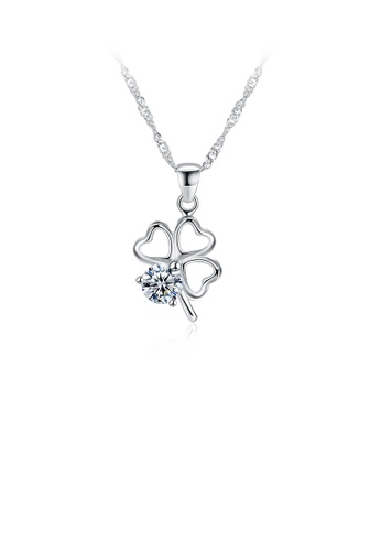 Glamorousky white 925 Sterling Silver Simple Romantic Four-leafed Clover Pendant with Cubic Zircon and Necklace 5D0C2ACE85E30EGS_1