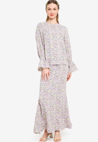 Lubna pink Nursing Puff Sleeve Kurung 26208AA0C9F4E1GS_1