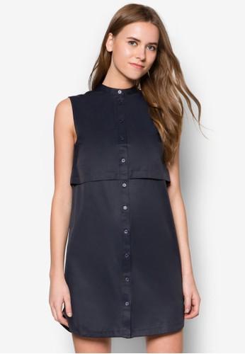 層疊zalora 折扣碼排鈕無袖連身裙, 服飾, 洋裝