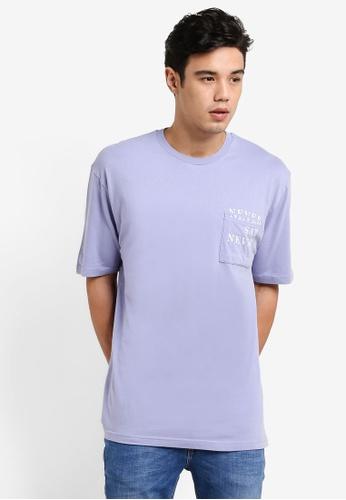Topman purple Purple Pocket Print T-Shirt TO413AA11EMAMY_1