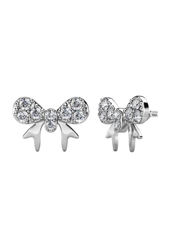 Her Jewellery white Her Jewellery Minnie Bow Earrings embellished with Crystals from Swarovski C13BEACEA34E8FGS_1
