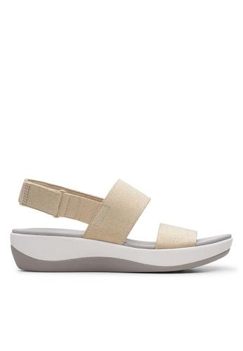 Clarks CLARKS Arla Jacory Gold Metallic Textile Womens Casual Sandals 67A37SH96AAF11GS_1