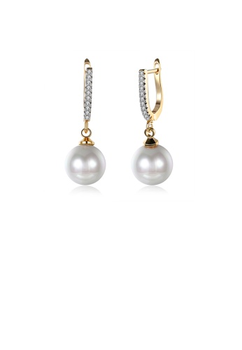 Glamorousky white Elegant Plated Rose Gold Pearl Earrings with Austrian Element Crystal 0D099AC4D241CDGS_1