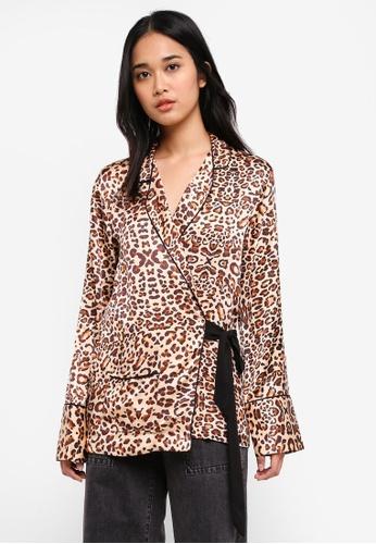 TOPSHOP multi Animal Print Wrap PJ Shirt 915B2AA365B21DGS 1 ba7222b4f