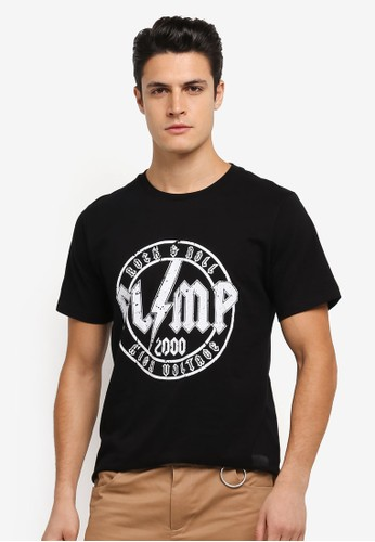 Flesh IMP black Mustaine Printed T-Shirt FL064AA0SJNKMY_1