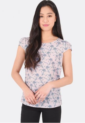 FORCAST pink Aisha Cap Sleeve Top FO347AA0F7HCSG_1