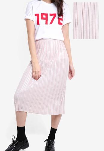 TOPSHOP 米褐色 Metallic Jersey Pleat Skirt TO412AA85DDMMY_1