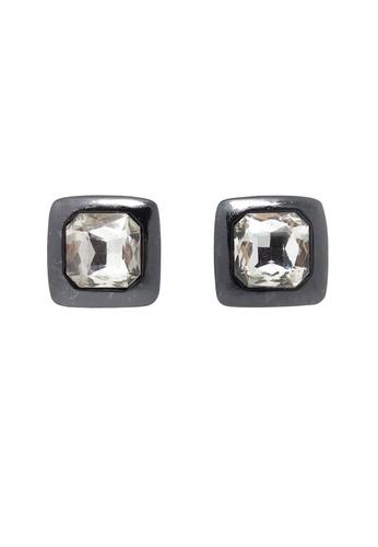 Jaysa Collection black Carbon Grey Stud Earrings with Clear Rhinestone JA875AC75PMISG_1