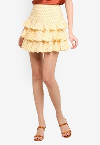 INDIKAH yellow Tiered Ruffle Hem Mini Skirt 67119AA56DC801GS_1