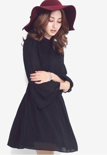 YOCO black Lace Bell Sleeve Skater Dress 80AB4AACDD673FGS_1