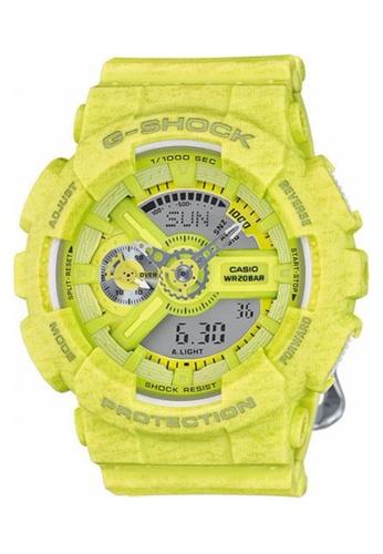 G-shock yellow CASIO G-SHOCK S SERIES GMAS110HT-9A GS076AC27PSUMY_1