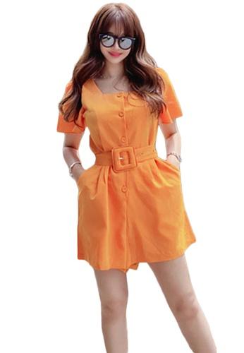Sunnydaysweety orange Casual Square Neck Puff Sleeve Playsuit A21031927 48282AAFC9DA9FGS_1
