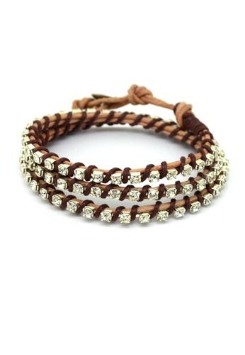 Fur Nyce brown Rhinestone 3 Layer Leather Wrap Bracelet FU779AC67SUYMY_1