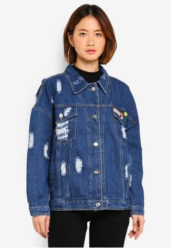 MKY Clothing blue Pin Ripped Denim Jacket 0975EAA5C1B988GS_1