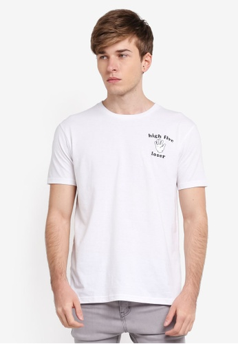 Penshoppe white Relaxed Fit Tee With Embroidery Detail PE124AA0SN1JMY_1