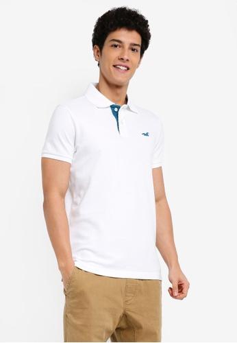 Hollister white and green Pop Colour Polo Shirt 844E7AAA8BD04DGS_1