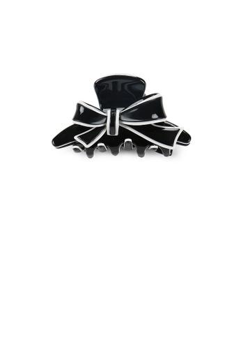 Glamorousky silver Fashion and Elegant White Border Ribbon Black Small Hair Claw 6D2B9AC48D77CFGS_1