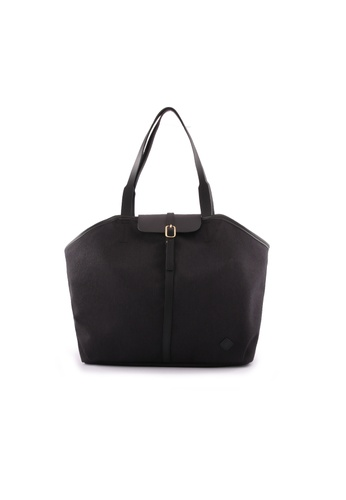 Samuel Ashley black Samuel Ashley Miley Nylon Leather Tote Bag - Black 10148AC72D6FE2GS_1
