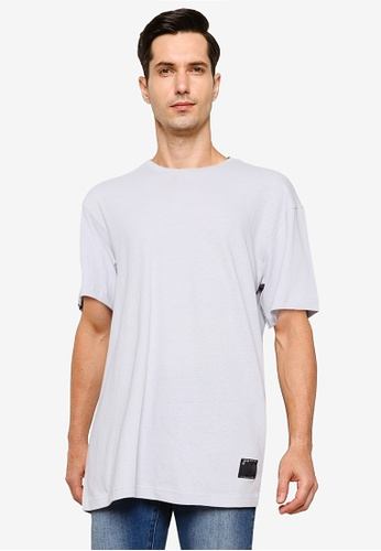 UniqTee grey Plain Oversized Tee with Side Label 7FBE3AAAB64401GS_1