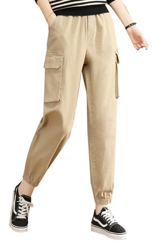 A-IN GIRLS beige Elastic Waist Band Trousers 358D2AA240C2B7GS_1