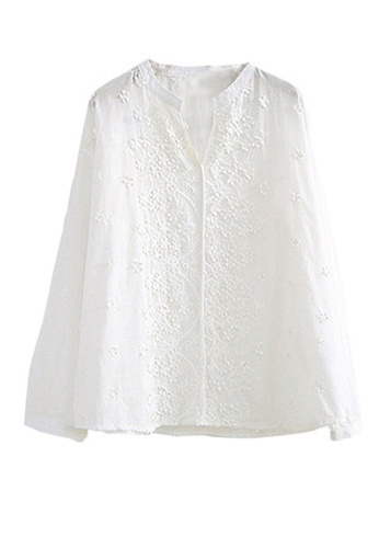 Twenty Eight Shoes white VANSA Embroidered Long Sleeves Blouse  VCW-Bs3031028 A396CAAE4A9ADEGS_1