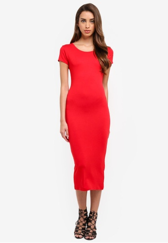 MISSGUIDED red Short Sleeve Crew Neck Midi Dress DE4AAAAB6D971FGS_1