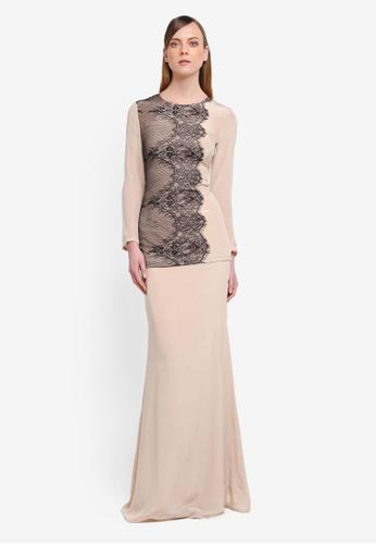 YADOTSA for ZALORA black and beige Stella Two Sides Lace Kurung YA729AA0STH7MY_1