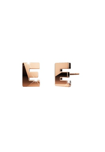 Bullion Gold gold BULLION GOLD Dainty Alphabet Letter Earring Rose Gold Layered Steel Jewellery - E 23098ACD95F5B7GS_1
