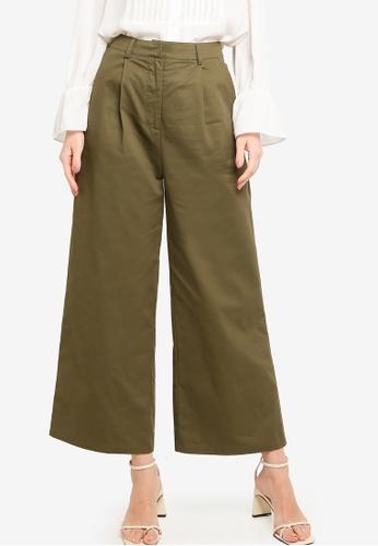ZALORA WORK green Wide Leg Tailored Pants F9C2FAA014DD35GS_1