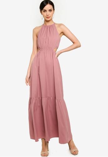 ZALORA OCCASION 粉紅色 Cut Out Tiered Maxi Dress A33DFAA1901E20GS_1