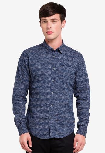 ESPRIT 海軍藍色 Woven Long Sleeve Shirt 7021EAA99ACDBEGS_1