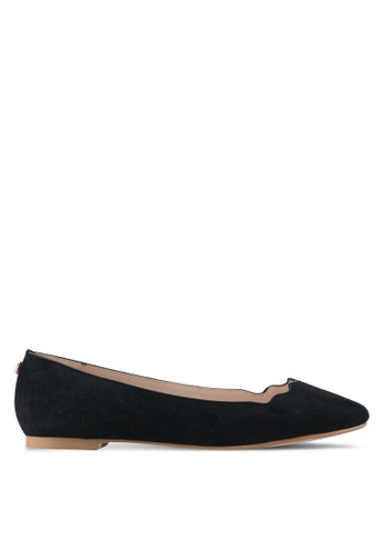 Velvet black Scalloped Edge Ballerina Flats 81DC7SH6B822EBGS_1