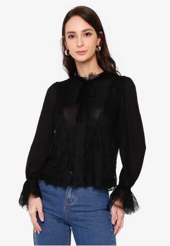 Hopeshow black Semi Sheer Lace Long Sleeve Blouse with Flare Cuffs FCDD2AA4D25079GS_1