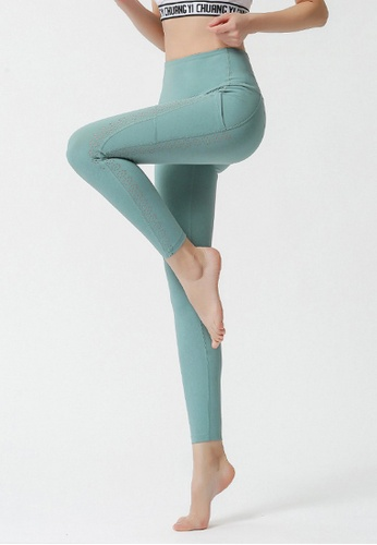B-Code green ZYG3064-Lady Quick Drying Running Fitness Yoga Sports Leggings -Green BFC1CAACF44F61GS_1