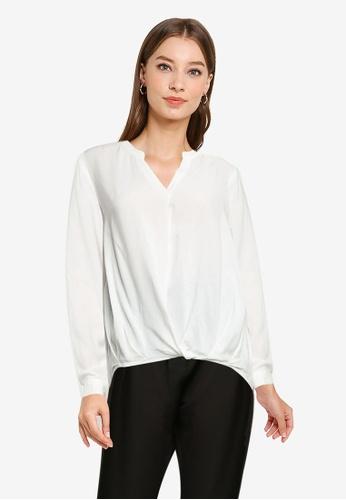 ZALORA WORK white Notch Neck Long Sleeve Blouse EA8D4AAA6328AEGS_1