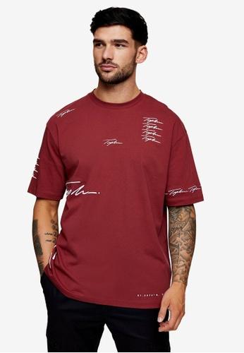Topman red Signature Burgundy Print T-shirt EDABCAADBDD3D0GS_1