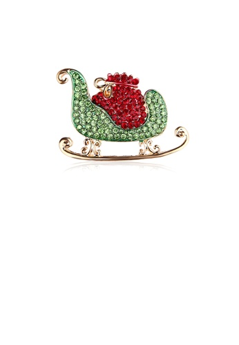 Glamorousky red Bright and Bright Plated Gold Christmas Sleigh Gift Brooch with Cubic Zirconia 565DEAC069A88AGS_1