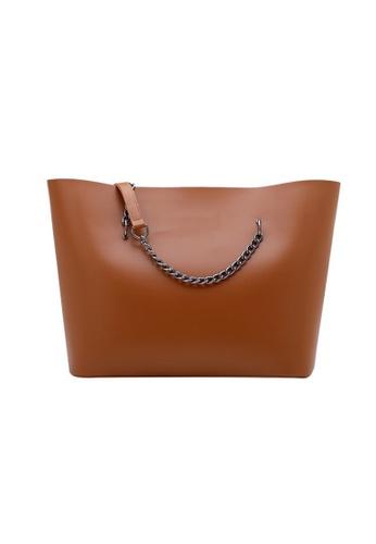 Lara brown Women's Leisure Minimalist Plain PU Leather Tote Bag - Brown F32D0AC669F44AGS_1