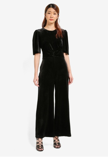 WAREHOUSE black Velvet Wide Leg Jumpsuit WA653AA0SI3TMY_1