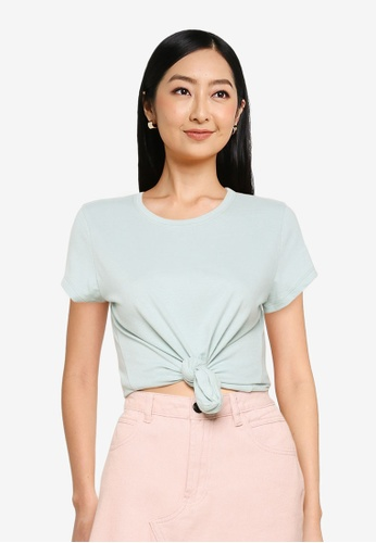 Abercrombie & Fitch blue Knotted Midi Tee ACFE2AAD0DA07BGS_1