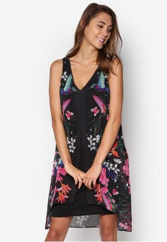 印花寬擺無袖連身裙, 服飾,esprit 品牌 洋裝