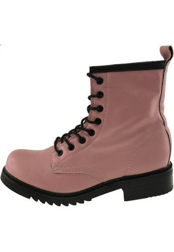 Maxstar 粉紅色 新款韩国鞋303-Walker時尚皮革布混合女粉紅色 US Women Size MA345SH72GYDTW_1