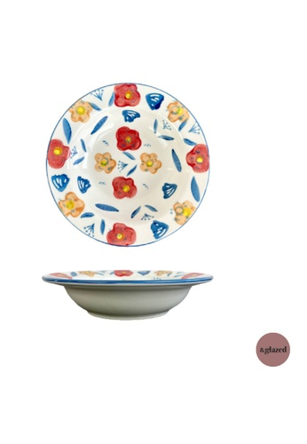 &glazed white and red and yellow and blue &Glazed Poppy 9-inch Medium Deep Dish Pomodoro BD1E0HL8BE1488GS_1